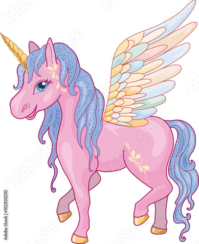 Poster Unicorn Pegasus Vector Illustration