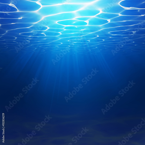 Tuinposter Koraalriffen Abstract Underwater background illustration with water waves. Blue underworld realistic backdrop. Ocean or sea floor. Summer diving vector illustration
