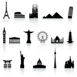 Fototapety Vector Famous Monument icons Set