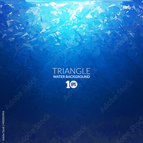 Tuinposter Koraalriffen Vector Abstract triangle underwater background with sunlight, abstract texture, abstract space background, abstract ocean background