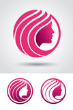 Round woman profile logo