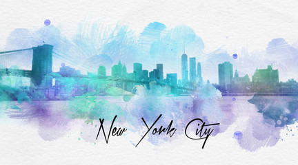 New York City cursive text over painting