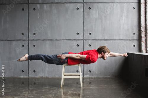 Man in superhero pose