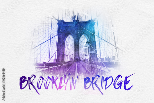 Brooklyn Bridge postcard graphic Obraz na płótnie
