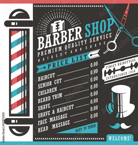 barber shop vector price list template stock image and royalty free vector files on fotolia. Black Bedroom Furniture Sets. Home Design Ideas