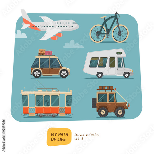 Fotobehang Auto Vehicles collection vector illustration