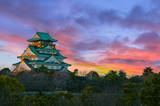 Amazing sunset Image of Osaka Castle - 102883691