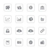 Gray simple flat icon set 4 with rounded rectangle frame for web design, user interface (UI), infographic and mobile application (apps)
