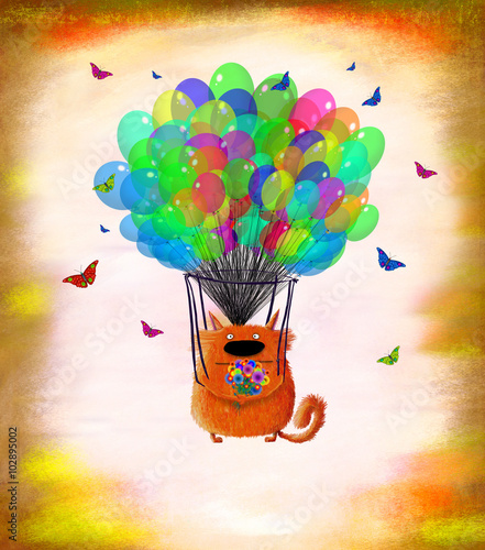 Fototapeta Cat With Flowers Flying On Colorful Balloons