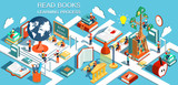 Fototapety The process of education, the concept of learning and reading books in the library and in the classroom. Online education Isometric flat design. Vector illustration