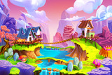 Fototapety Creative Illustration and Innovative Art: Cabin in the Mountain! Realistic Fantastic Cartoon Style Artwork Scene, Wallpaper, Story Background, Card Design