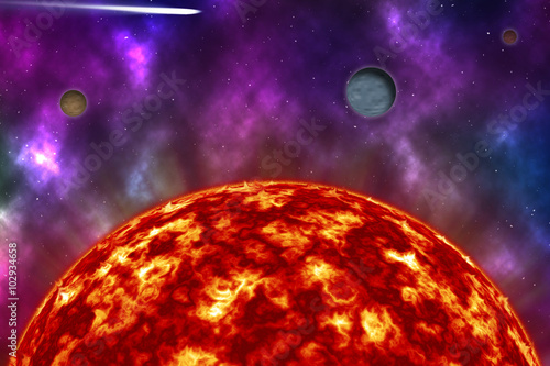 hot sun on the universe with colorful nebula and star Poster