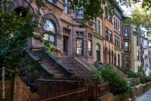 a row of brownstone buildings