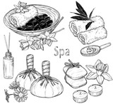 set of spa illustrations, Beauty and health care sketch