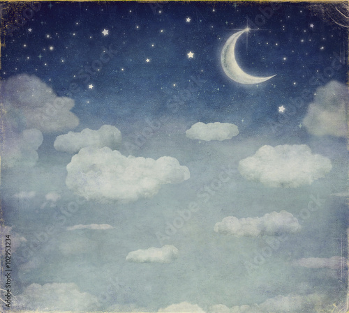 Fototapeta Illustration of a night sky with fantastic moon and stars