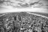 panoramic view over Manhattan, New York city from Empire State building, black and white, New York City, USA