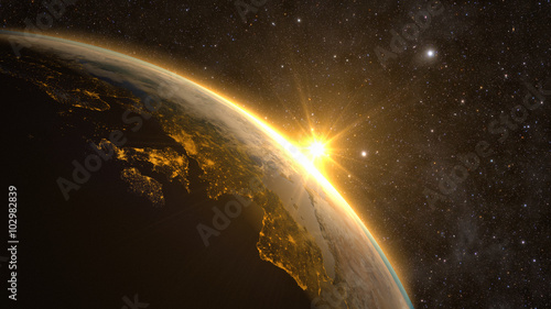 Planet Earth with a spectacular sunrise, view on Europe and Africa.