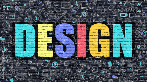 Design Concept. Design Drawn on Dark Wall. Design in Multicolor Doodle Design. Design Concept. Modern Illustration in Doodle Design Style of Design. Design Business Concept. - 102986073