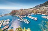 Monaco, Fontvieille, 29.08.2015: Port Fontvieille, panorama, top view, cap dail, monaco ville