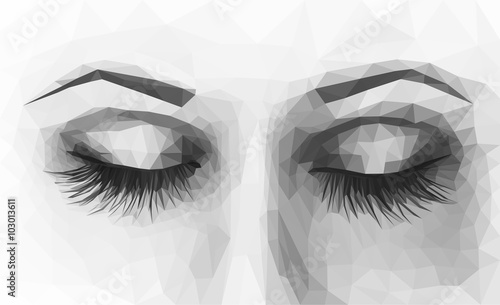 polygonal female eyes closed with long eyelashes monochrome - 103013611