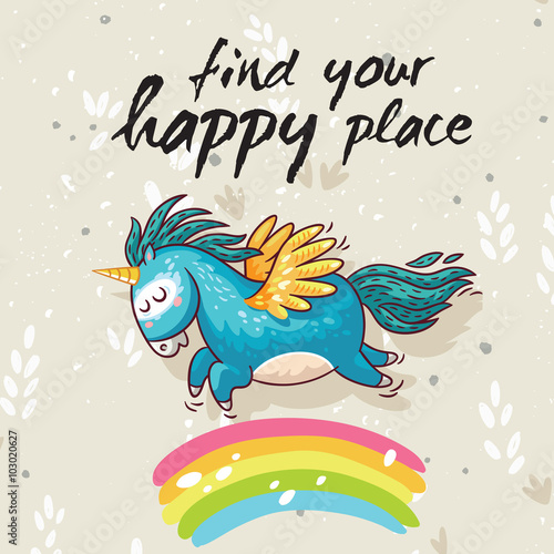 Happy card with cute unicorn. Vector cartoon illustration Poster
