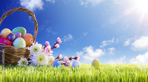 Basket of Easter Eggs With Flowers On Green Meadow