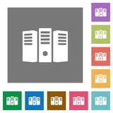 Server hosting square flat icons