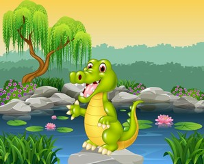 Cute crocodile presenting
