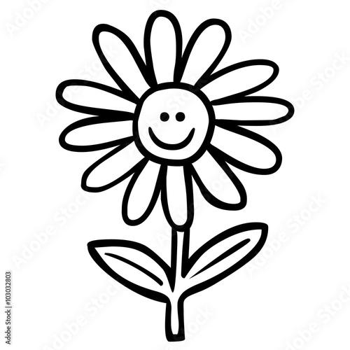GamesAgeddon - Handgezeichnete, lächelnde Blume / schwarz-weiß ...