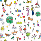 Fototapety Kids drawing funny seamless pattern - cute vector