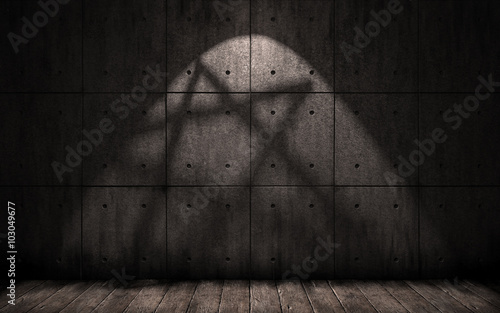 Staande foto Industrial geb. grunge background with shadow in the shape of a pentagram, star, dark underground room