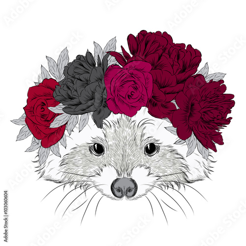 Raccoon in a wreath. Cute raccoon vector. Print. Flowers. - 103060604