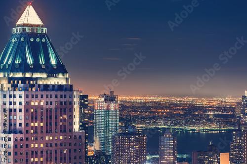 Naklejka New York City skyline at night