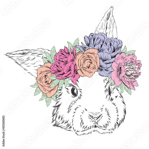 Cute rabbit in a wreath of flowers. Rabbit vector. - 103060683