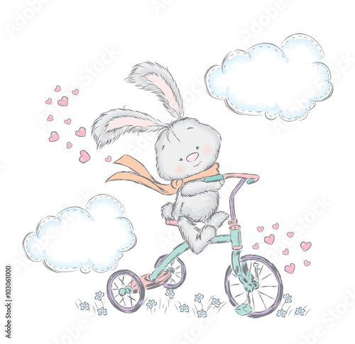 Fototapeta Cute hare on a bicycle. Bunny in the vector. Sweetheart card.