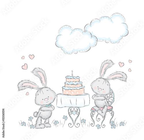 Fototapeta Bunny at the festival. Lovely vector. Card. Birthday. Bunny and cake.