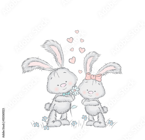 Fototapeta Cute hare in the vector. Leverets couple on a date . Greeting card with bunnies .