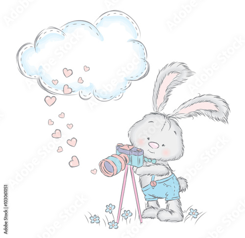 Fototapeta Cute hare in the vector. Rabbit with a camera. Bunny shorts.