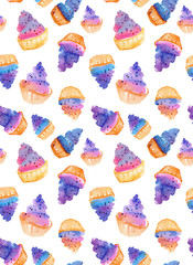 Watercolor seamless pattern with muffins.  Can be used for wrapping paper, background of birthday, mother's day and any holidays.