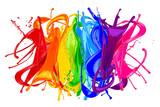 Fototapety colorful wild rainbow color splash isolated on white background