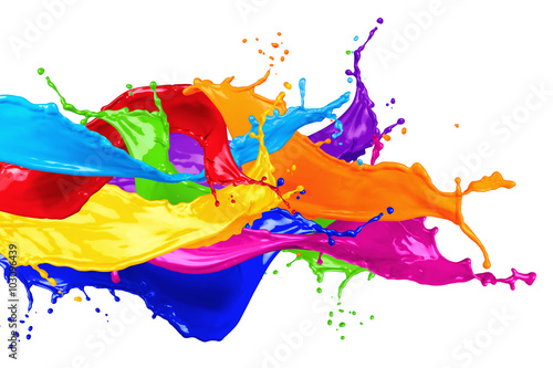colorful wild color splash isolated on white background плакат