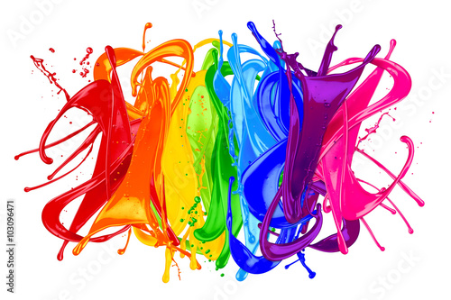 colorful wild rainbow color splash isolated on white background плакат