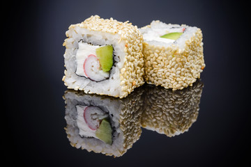 Sushi roll with avocado crab sticks and cheese