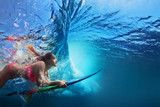 Young girl in bikini - surfer with surf board dive underwater under big ocean wave Family lifestyle, people water sport adventure camp and beach extreme swimming activity on summer vacation with child - Fine Art prints