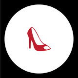 simple lady court shoe isolated red icon eps10