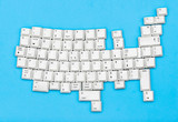USA map of white computer keyboard keys