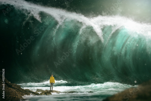 canvas print picture Man in front of a tsunami