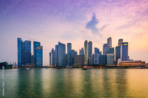 Plagát Singapore Marina Skyline
