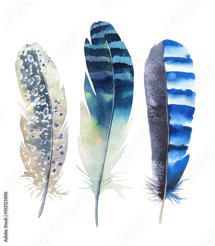 Hand drawn watercolor feather set. Boho style. illustration isol © kris_art