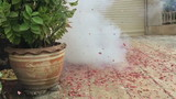 Slow motion firecrackers exploding